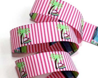 "Ribbon - Palm Trees w/Pink and White Stripes 1"" - Darling"