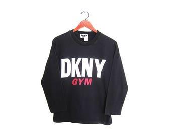 vintage t shirt / DNKY shirt / 90s spell out / 1990s DKNY Gym black long sleeve t shirt Medium