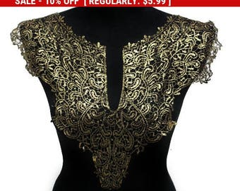 NEW Black and Gold Lace Necklace Applique Collar for Garments and Crafts