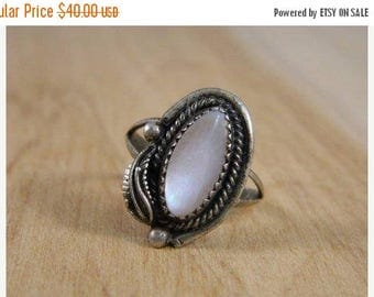ETSYCIJ Vintage Southwestern Mother of Pearl Ring / Sterling Silver Native American MOP Ring / 70s Indian Ring Size 8
