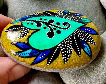 just breathe / painted stones/ painted rocks / rock art / heart rocks / boho style, boho art / hippie style / altar art / tiny art / stones