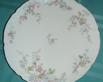 1900s Haviland France Limoges Small Coupe Salad Plate Pink Blue Flowers Scalloped Edges