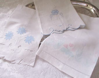 Vintage hand towels set of 3 cotton and linen, French country cottage decor, guest linens,  clean condition
