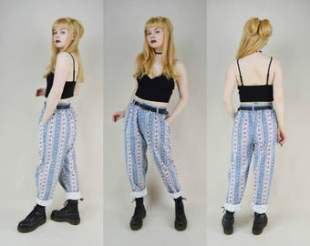 80s Grunge Blue Stripey Floral Print Slouchy Fit High Waist Trousers Pants S / M