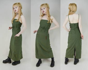 90s Army Green Spaghetti Strap Cargo Maxi Dress XS