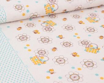 Shinzi Katoh | Japanese fabric - kawaii bees - cotton shirting - blue and yellow - 1/2 YD