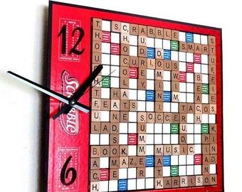 Custom  Scrabble Wall Clock, Custom Game Clock, Game Room Clock, Housewares, Home and Living, Home Decor, Decor and Housewares, Cus