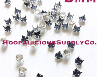 25pc 5mm Hot Fix Nail Head Prong Studs in Gold Or Silver. Fast Shipping w/Tracking for USA & Canada.