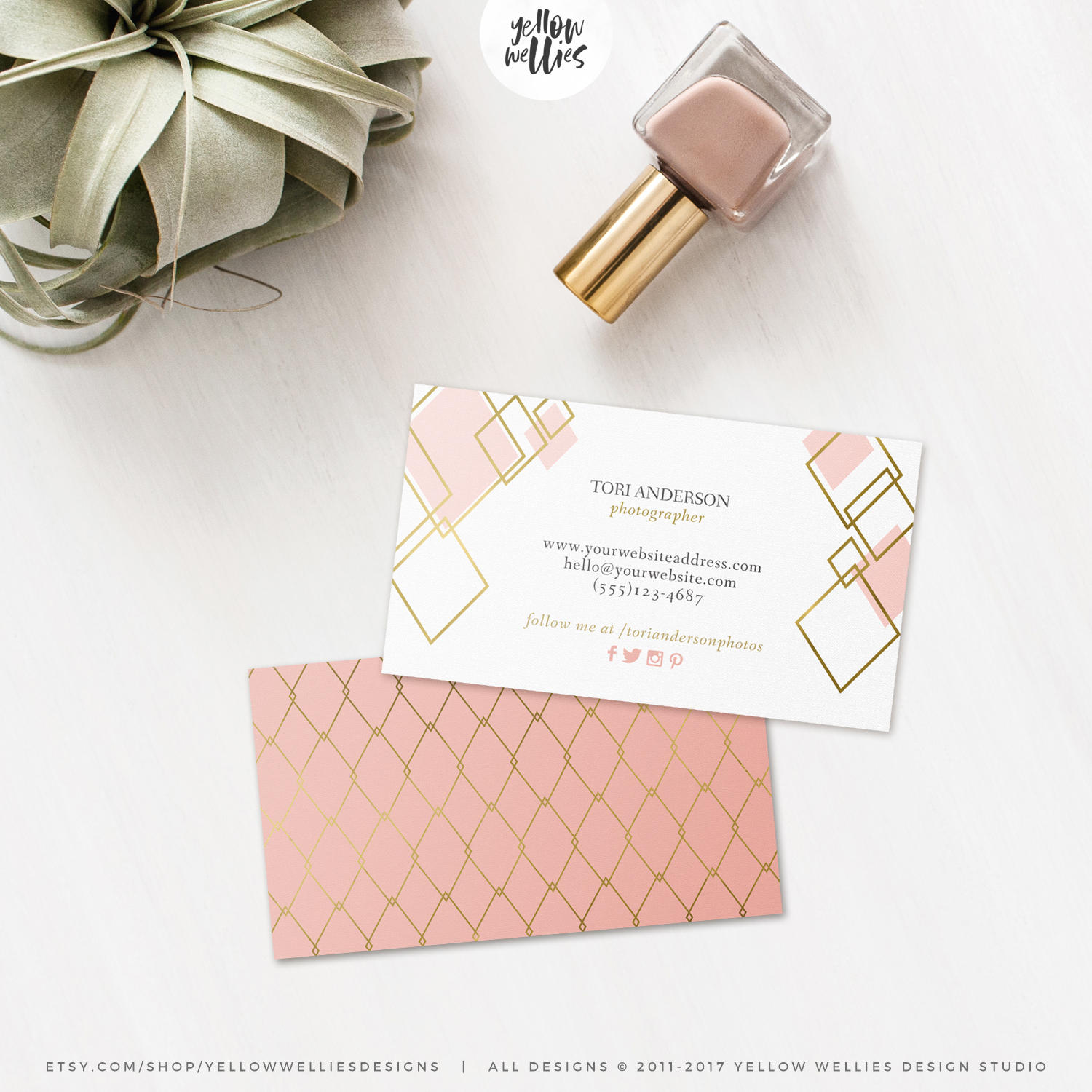 Business Card Template - Blush and Gold - Moo Template - Gold Foil ...