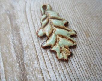 Oak Leaf Pendant   Pottery Clay Artisan