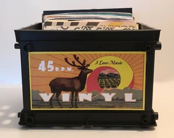 Handcrafted Retro Style Mini Record Crate for 45 rpm's / (Holds 75)