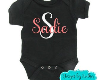 Customized Bodysuit - Personalized Bodysuit - Bodysuit with Name and Initial - Rose Gold Glitter