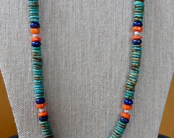 22 Inch Natural Arizona Mined Green Turquoise with Lapis and Coral and Earrings