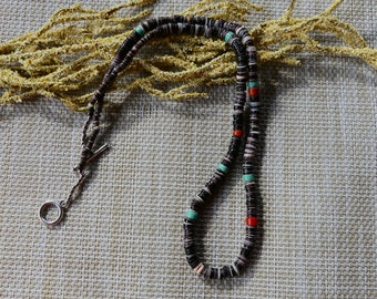 20 Inch Unisex Southwestern Purple Spiny Oyster Strand with Coral and Turquoise