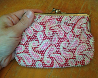 vintage beaded novelty clutch wallet change purse with paisley print and two compartments