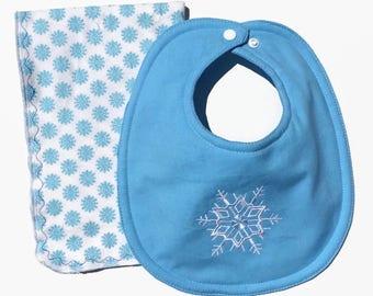 Christmas Baby Gift Set - Bib And Burp Cloth  - Christmas Bib - Snowflake Baby Bib - Baby Boy Gift - Baby Girl Gifts - December Baby -