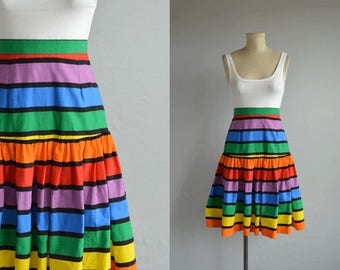 Vintage 1980s Skirt / 80s Drop Waist Rainbow Stripe Cotton Skirt / Pride Skirt