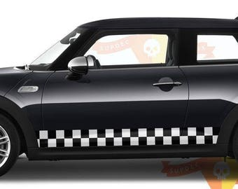 Checkered flag white and black Vinyl decal stripe KIT 2 side fit to MINI COOPER