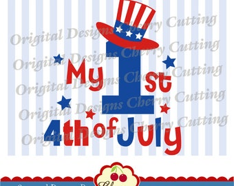 My 1st 4th of July SVG DXF Independence Day svg eps Silhouette & Cricut Cut design and clip art JULY03 -Personal and Commercial Use
