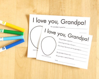 I love you Grandpa printable cards - Personalized grandparent gifts from kids - Craft for Grandfather