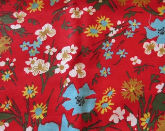 bright red floral print cotton fabric -- 36 wide by 2 yards long
