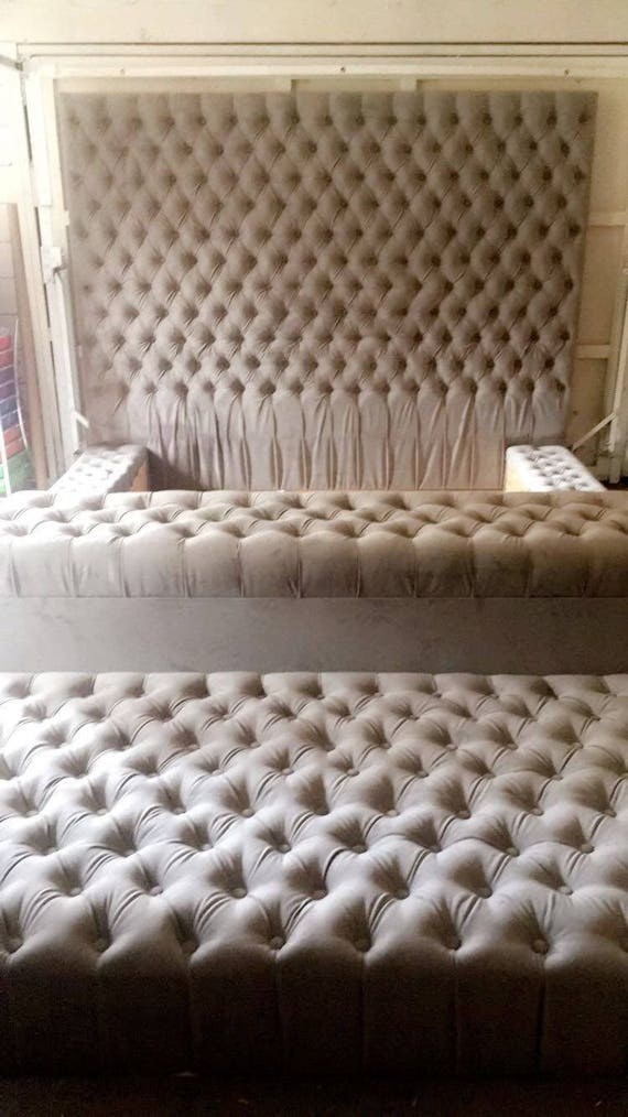 Diamond tufted oversized bed with storage bench and ottoman - What is an ottoman ...