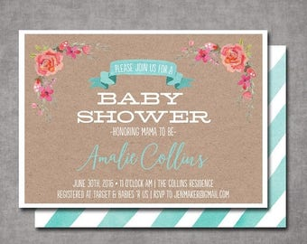 SUMMER SALE Watercolor Floral Kraft Mint Baby Shower Invitation Bridal Shower Printable Invitation OR Printed Card