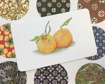 Small notebook embellishments or journal de irations of Orange Tangarines, Tiny Art Print of Pencil Drawing, Mandarins, Oranges, Clemetines.