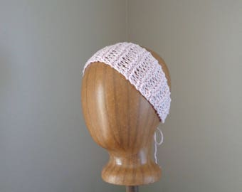 Pale Pink Cotton Headband, Hand Knit Tie Back, Head Wrap Scarf, Cute Chic Summer Fashion, Women Teen Girls, Open Lace Design