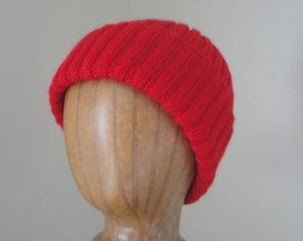 Warm Red Hat, Hand Knit, Wool, Teens Men Women, Watch Cap Beanie, Jacques Cousteau