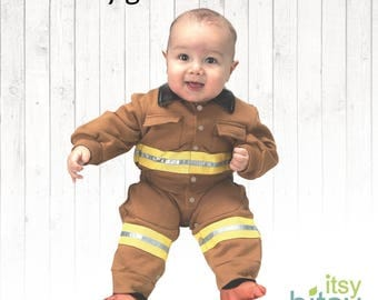 Baby Firefighter Costume Halloween Costume Firefighter Bunker Gear Personalized Fireman Outfit baby bunker gear baby firefighter onesie