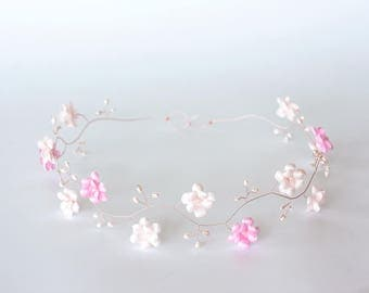 52 First communion hair accessories, Rose gold hair accessories, First communion flowers crown, Pink flower crown,  Pearls hair accessory.