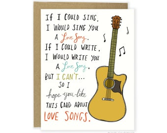 Funny Love Card, Anniversary Card, Music Card, Funny Girlfriend Card, Funny Wife Card, Funny Valentine Card, Valentines Card, Love Song Card
