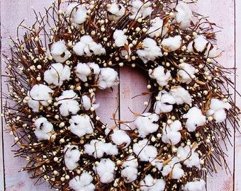 Cotton Wreath-Fall Wreath-Fall Front Door Wreath-Fall Door Wreath-Fall Door Decor-Winter Wreath-Cotton Berry Twig Door Wreath-Wreaths-Wreath