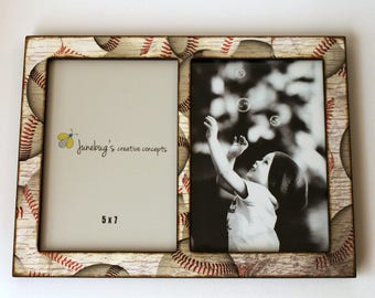 Double 4x6 or 5x7 Picture Frame Baseball - Baseball Photo Frame - Sports Home Decor - 2 Photo Frame Baseballs - Collage Frame