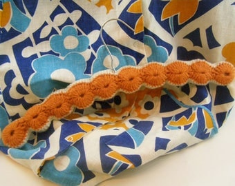 Homemade 1970's Shift Apron in Retro Orange and Blue with Snaps on Crocheted Hanger to match.