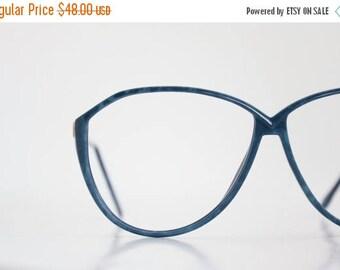 ON SALE Vintage 80's Oversized Blue Eyeglasses Frames