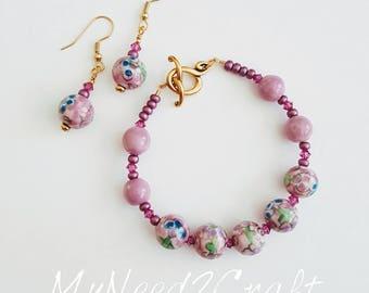 Lavender Porcelain Bracelet and Earrings Set