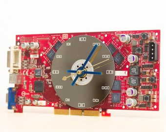 Desk clock - geeky office clock - Recycled video card clock - red circuit board c5979