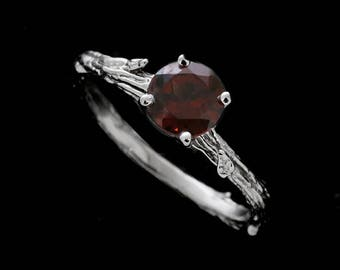 Garnet Branch Engagement Ring, Nature Inspired Solitaire Ring, Hand Crafted Leaves Accent Ring, Organic Design 14K White Gold Garnet Ring