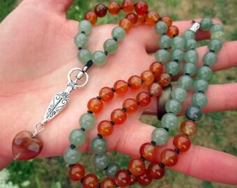 Dancing Goddess Necklace with Gemstone Heart, Carnelian and Green Aventurine / Virgo / Earth Goddess/ 72 Mala / Pagan Prayer Beads