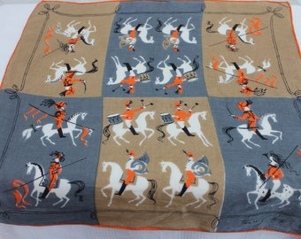 Vintage Tammis Keefe Hanky Handkerchief Collectible Horse and Rider