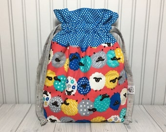 Mid Size Drawstring Knitting Crochet Project Bag - Rolling In The Sheep