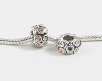 3 Beads - Peach Pink Swirl Rhinestone Silver European Bead Charm E0599