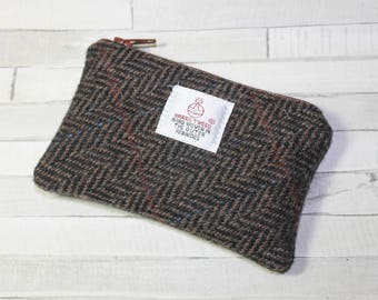 Harris Tweed purse, coin purse, change purse, brown/charcoal Herringbone pattern