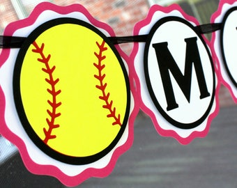 Softball Party Banner - Softball Birthday Party Decorations - Softball Name Banner - Girls Softball Party Decor - Softball Team Party Banner