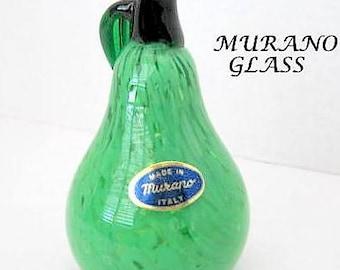 Murano Glass Pear - Green Art Glass - Hand Blown Pear Figural - Paper Weight