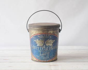 Vintage Silver Leaf Brand Lard Lithographed Tin Pail Swift and Co USA
