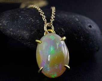 ON SALE Solid White Australian Opal Necklace - Oval Opal Pendants - October Birthstone