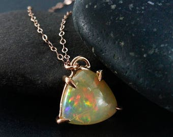 ON SALE Triangular Fire Opal Necklace - Rose Gold - One of a Kind Opal